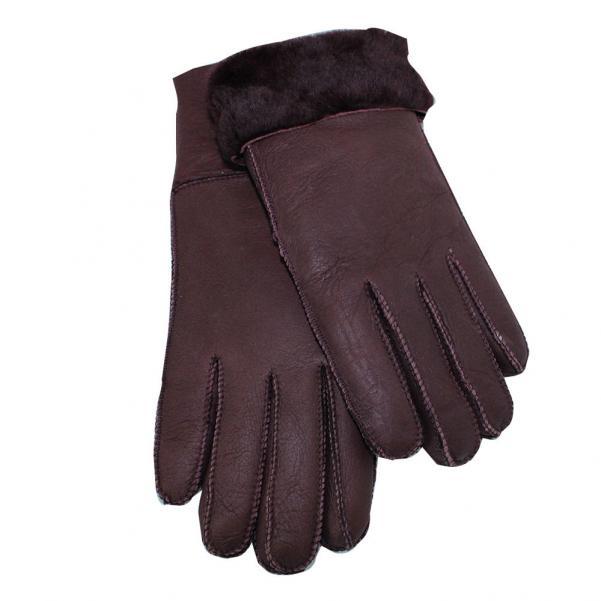 Дамски ръкавици от естествена агнешка вълна цвят бордо