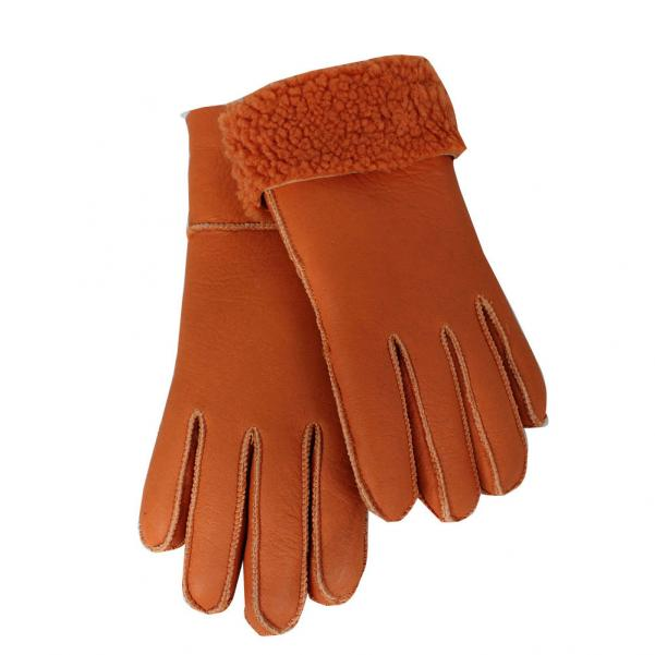 Дамски ръкавици от естествена агнешка вълна цвят портокал