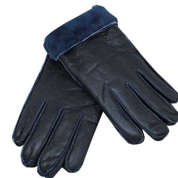 Мъжки ръкавици от естествена Агнешка кожа цвят тъмно син