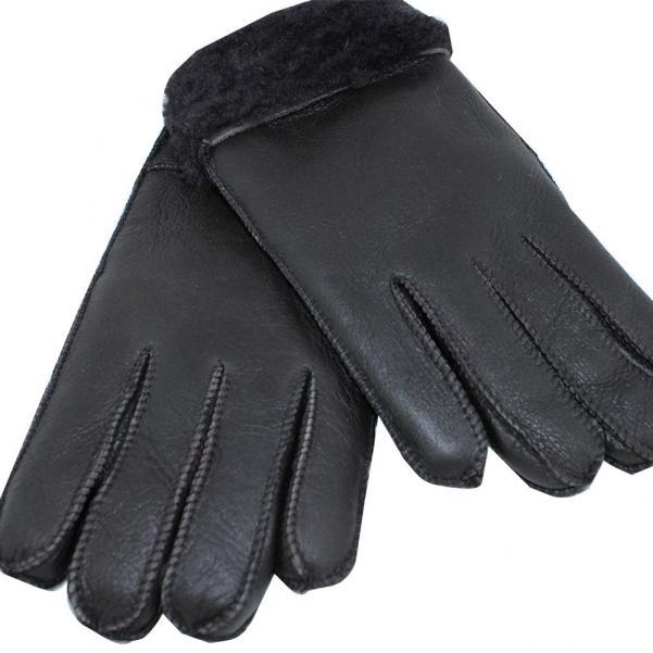 Мъжки ръкавици от естествена Агнешка кожа цвят тъмно кафяв