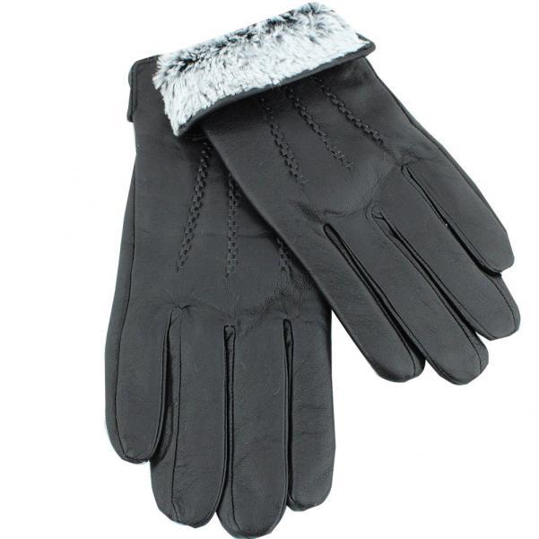 Мъжки ръкавици от естествена Агнешка кожа цвят черен