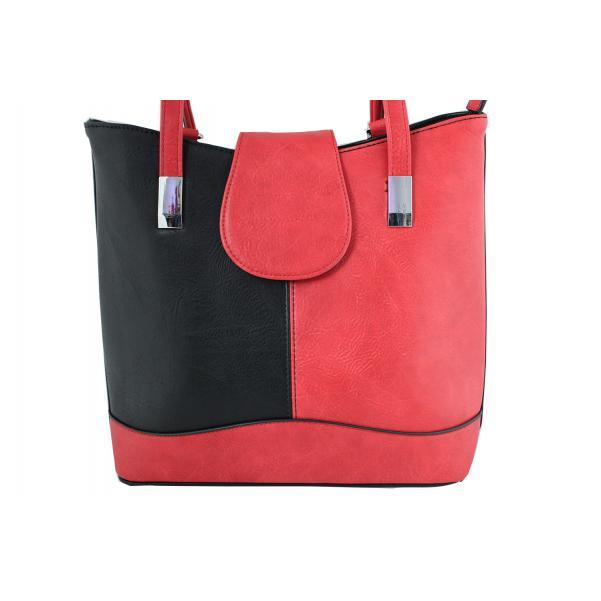 Дамска чанта- раница от еко кожа основен цвят черен комбиниран с червено