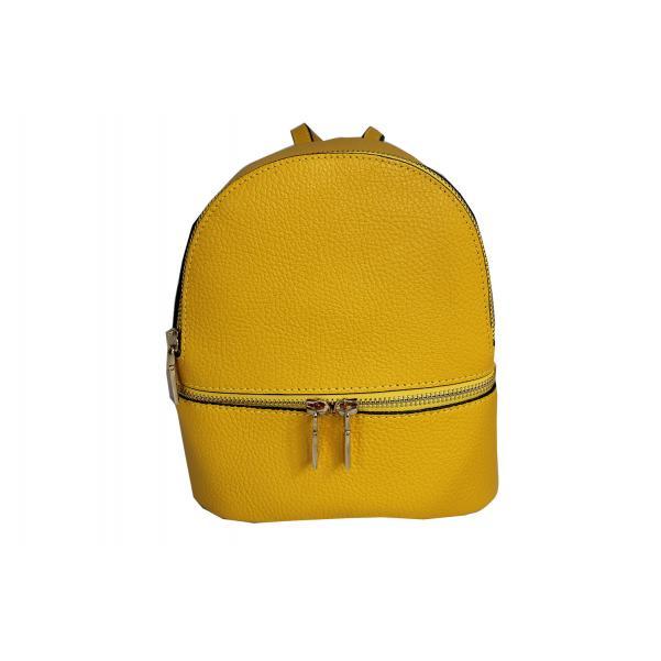 Дамска раница от естествена кожа цвят жълт