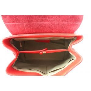 Дамска раница от естествена кожа цвят червен,комбиниран с животински принт