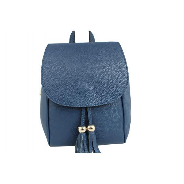Дамска раница от естествена кожа цвят тъмно синьо